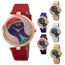 Women's Burgi BUR131 Swarovski Crystal Peacock Pattern Dial Leather Strap Watch