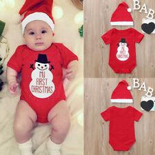 2Pcs Christmas Toddler Baby Cartoon Snowman Letter Romper+Hat Set Outfit er