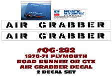 QG-282 1970-71 PLYMOUTH - ROAD RUNNER / GTX - AIR GRABBER - HOOD DOOR TOP DECAL
