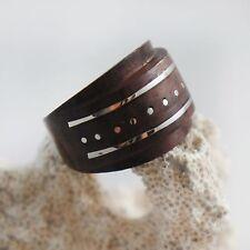 Natural Wood Handmade Unisex Dome Metal Inlay Statement Ring Fashion Jewelry USA