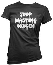 Smettere di sprecare ossigeno-Carino Goth Da Donna T-shirt