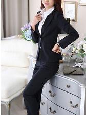 élégant Suit complete woman pinstriped blue black jacket slim fit trousers 7119
