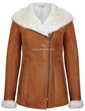 Ladies Sheepskin Hooded Jacket Long Fitted Chestnut Winter Shearling Jacket NV39