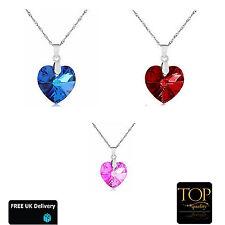 Women Fashion Ladies Silver Crystal Elements Heart Necklace Mum Friend Gift UK