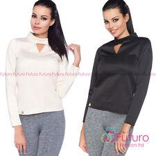 Womens Elegant Office Blouse Keyhole Neck Smartwear Top Shirt Sizes 8-14 FA461