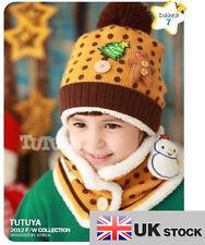 I bambini pupazzo di neve cappelli e sciarpa set per età 3-7 UK Venditore
