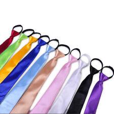 Vogue Men Skinny Solid Zip-Up Zipper Slim Adjustable Pre-tied Skinny Necktie Tie