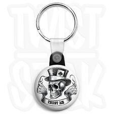 Ace of Spades Trust Me Skull - 25mm Biker Keyring Button Badge, Zip Pull Option