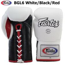 FAIRTEX MUAY THAI KICK BOXING GLOVES BGL6 WHITE BLACK RED COLOR SPARRING PRO