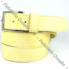 Cintura Pelle Giallo Cuoio Uomo Donna Artigianale Made In Italy 3,5 cm c1