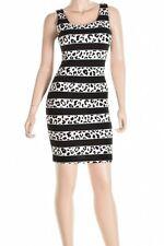 Bar Lii Black Sleeveless Bodycon Striped Combo Leopard Print Stretch Sexy Dress