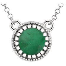 """Genuine Emerald 5.0 mm Round Gemstone 18"""" Chain Necklace in Solid 14K White Gold"""