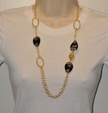 LONG Oval Drop Onyx Technibond Necklace 14K Gold Silver
