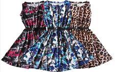 GIRLS PARTY FLORAL KIDS LEOPARD SKATER DRESS  BELTED PRINTED TOP VEST DRESSES