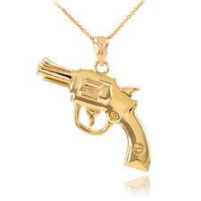 Solid Gold Magnum Revolver Colt 45 Handgun Firearm Pistol Pendant Necklace