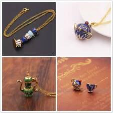 Womens Fashion Enamel Glaze Teacup Pendant Long Sweater Chain Necklace Jewelry G