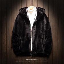 Winter Men's Hooded Plush Lambwool Jacket Outwear Faux Fur Leopard Outdoor Warm