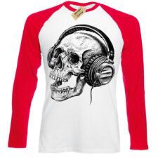 Skull Headphones Mens T Shirt long sleeve baseball band skeleton music retro