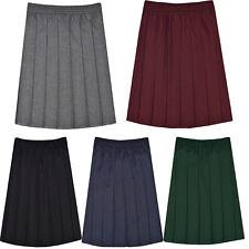 Girls Kids School Elasticated Waist Box Pleated Skirt Plain Uniform 2-18 Years