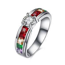 Stainless Steel Bridal Engagement Wedding Ring AAA Zirconia Gay Pride B464