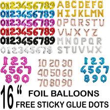 "Gold, Silver, Blue & Pink Color Letter(0-9, A-Z) 16"" Self-inflating Foil Balon"