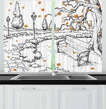 "Doodle Kitchen Curtains 2 Panel Set Window Drapes 55"" X 39"" Ambesonne"