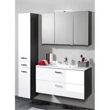 Badezimmer Set 60-100cm Waschtisch Waschbecken Spiegelschrank Hochschrank weiß
