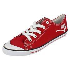 Mujer REBAJAS agudo Rojo Zapatillas De Lona de PONY