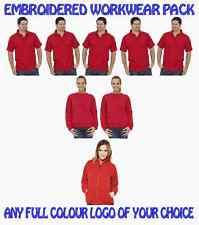 5 Workwear Poloshirts. 2 Sweatshirts 1 Fleece Jacket. FREE EMBROIDERED LOGO!