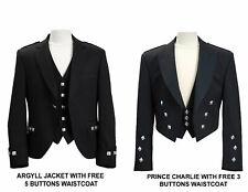 Mens Scottish kilt Argyle & Prince Charlie Jacket & Waistcoat/Vest Party Dress