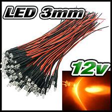 232# LED 3mm 12v pré-câblé orange de 5 à 100pcs - pre wired LED orange 3mm