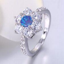 UK Ladies Fashion Blue Fire Opal *925 Sterling Silver Wedding Gift Ring Sz O-Q-S
