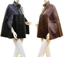 f828ef0144b Women Gothic Military Cape Steampunk Faux Leather Goth Fur Poncho Coat  Jacket