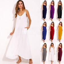 Women Summer Sleeveless Slip Boho Plunge V-Neck Party Beach Long Maxi Sun Dress