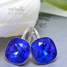 925 SILVER EARRINGS 12MM FANCY STONE - MAJESTIC BLUE - CRYSTALS FROM SWAROVSKI®