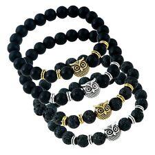 Men's Classic Metal Owl Charm Beaded Black Lava Rock Stone Spacer Beads Bracelet