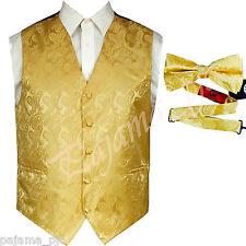 GOLD  XS to 6XL Paisley Tuxedo Suit Dress Vest Waistcoat & and Bow tie Wedding