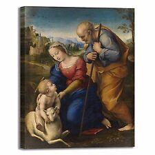 Raffaello sacra famiglia e agnello quadro stampa tela dipinto telaio arredo casa