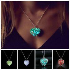 New Magical Glow Dans Le Dark Love Heart Locket Pendentif Luminous Necklace