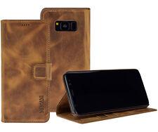 Samsung Galaxy S8 Plus Tasche Book Leder Hülle S8+ Wallet Case in Antik Cognac
