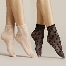 Fiore Sheer Leopard Print Ankle Socks|Women's Socks