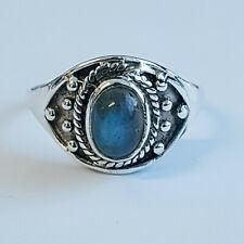 Handmade 925 Sterling Silver Tibetan oxidized ring with Labradorite stone.