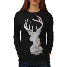 Deer Head Women Long Sleeve T-shirt NEW   Wellcoda