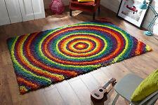 Multi Colour Swirl circle Funky Modern Thick Shaggy Rug Carpet 160x230cm -30%OFF