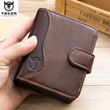 Men's Wallet Genuine Retro Leather Credit Card Holder RFID Blocking Zipper Thin