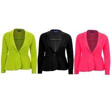 Women's One Button Luminous Frill Shift Textured Party Jacket Ladies Blazer
