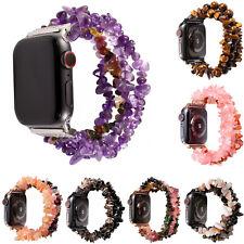 44/40/42/38mm Natural Gemstone Agate Strap for Apple Watch Band Stretch Bracelet
