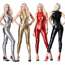 AU Sexy Women's Wet Look Faux Leather Bodysuit Jumpsuit Catsuit Zipper Clubwear