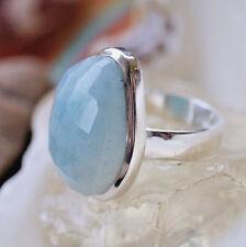 Massiv Ring Silber 57 Aquamarin Hellblau Silberring Schlicht Puristisch Oval Ei