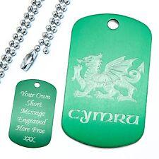 Personalised Coloured Wales Cymru Dog Tag Pendant & Ball Chain Identification ID